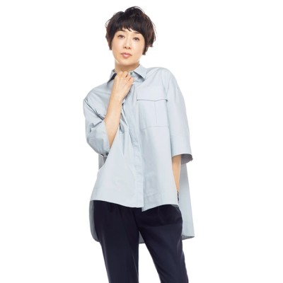 ポケットデザイン ワークシャツ サックスブルー 2(M−L