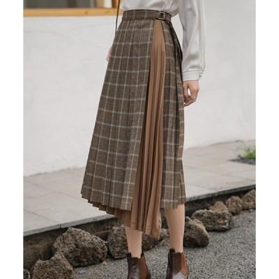 スカート チェックプリーツラップスカート