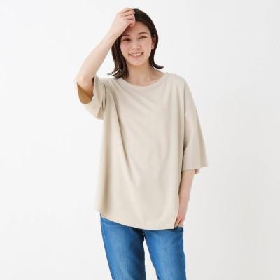シューラルー SHOO-LA-RUE ハニカムワッフルスリットTシャツ (ベージュ)