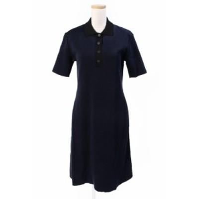 【中古】フォクシーニューヨーク FOXEY NEW YORK コレクション collection ワンピース ポロシャツ ロング 半袖 38 黒 35674