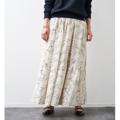 【ルージュ・ヴィフ ラクレ/Rouge vif la cle】 フラワー柄切り替えティアードスカート