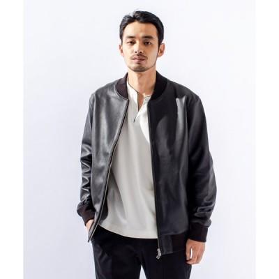 ジャケット ブルゾン 【MMMM】M2023002ラムナッパレザーリブブルゾン