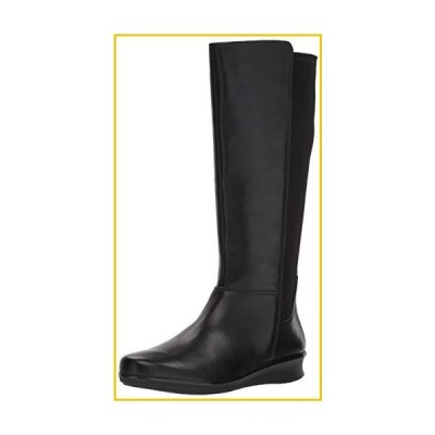 Clarks Women's Hope Play Fashion Boot, Black Leather/Textile, 5.5 M US