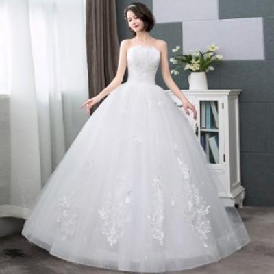 ウエディングドレス ブライズメイドドレス 披露宴 パーティードレス 花嫁 結婚式 お呼ばれドレス ドレス 結婚式ドレス 袖なし 花柄 レー