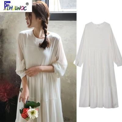 春 ロング マキシ ドレス 女性 韓国 フリル シフォン 妖精 ヴィンテージ ホワイト ワンピース 3102 レディース ファッション