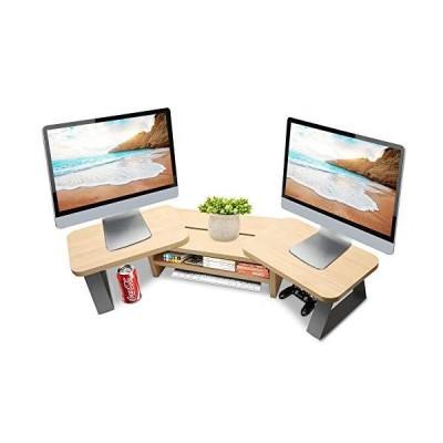 (新品) JYPS Dual Monitor Stand Riser Adjustable Length and Angle Computer Monitor Desktop Stand 3 Shelf Storage Organizer Screen Stand