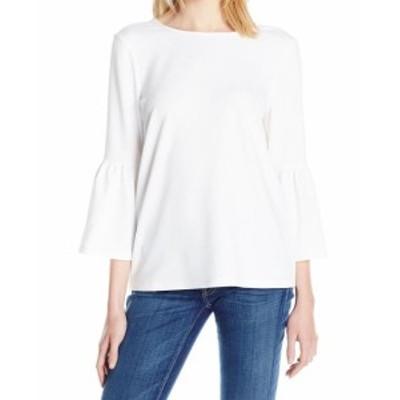 bell ベル ファッション トップス Kensie NEW White Ruffled Bell Sleeve Womens Small S Tie-Back Blouse