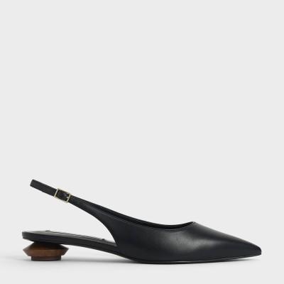 【2021 SUMMER】スカルプチャーヒール スリングバックフラット / Sculptural Heel Slingback Flats (Black)
