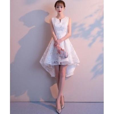 パーティードレス ミニドレス 不規則裾 袖なし フォマールドレス 花嫁 成人式 司会 同窓会 可愛い 20代30代 ショート丈