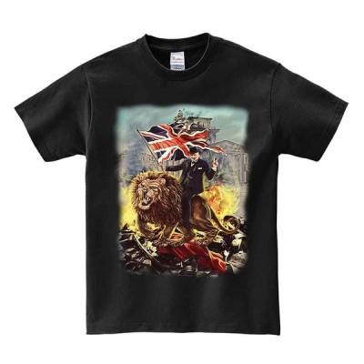 【ライオンにまたがるウインストンチャーチル】メンズ 半袖 Tシャツ ブラック