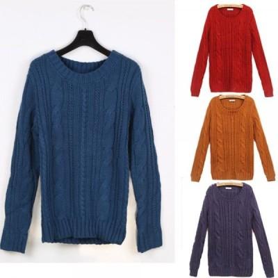 【在庫セール】レディースケーブル編み丸襟袖パッチセーター
