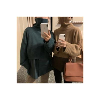 【送料無料】冬 韓国風 手厚い 暖かい タートルネック 単一色 長袖シャツ セット | 346770_A64215-5749582