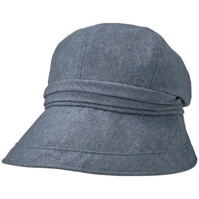 21機能で小顔に見える遮熱遮光UVクロッシェ帽子<美活計画>/グレイッシュブルー