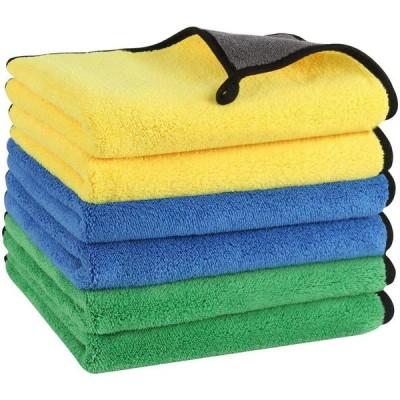 洗車タオル マイクロファイバー 超吸水 速幹 洗車用品セット 厚手,6枚セット(40cm*30cm)