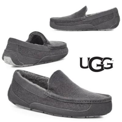 アグ アスコット ウール モカシン・ローファー グレー UGG Ascot UGGpur Lined Slipper メンズ 取り寄せ 送料無料