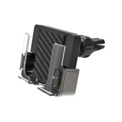 手帳対応スマホホルダー2 エアコン取り付け 携帯 固定 車載ホルダー ブラック 360°角度調整 カシムラ AT-68