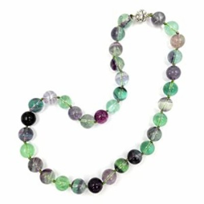 """18"""" Natural Stone Grade AA Multi Color Fluorite 12mm Round Beads Crystal Magnet Clasp"""