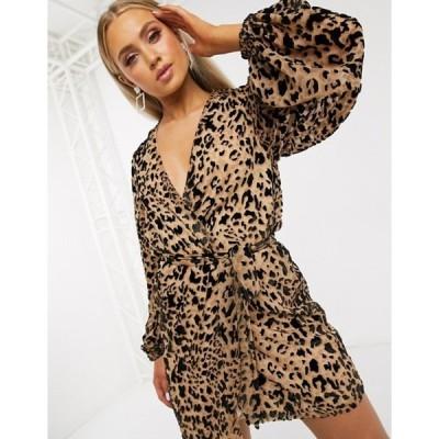 クラブエル ロンドン レディース ワンピース トップス Club L London wrap front belted mini dress in leopard print