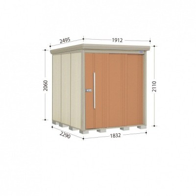 物置 屋外 おしゃれ タクボ物置 ND/ストックマン ND-1822 一般型 標準屋根 『追加金額で工事可能』 トロピカルオレンジ