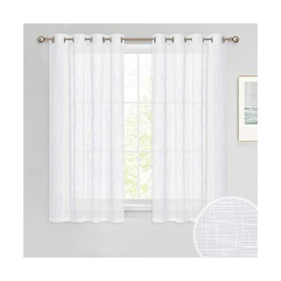 PONY DANCE Bathroom Sheers Curtains - White Voile Linen Look Semi-Transparent Casual Top Grommet Silver Short Valances for Small Window Kitc