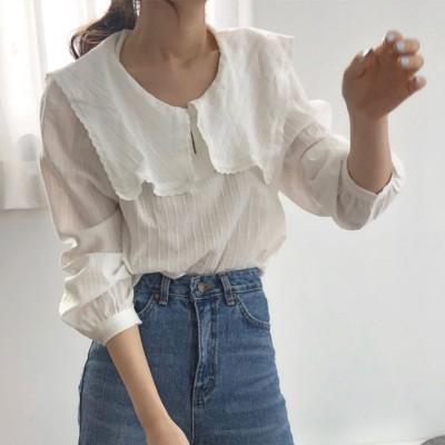 ミニミニストア miniministore シャツ トップス 韓国ファッション セーラー襟 ブラウス ラッフルブラウス 長袖 可愛い 通勤 レディース (ホワイト)