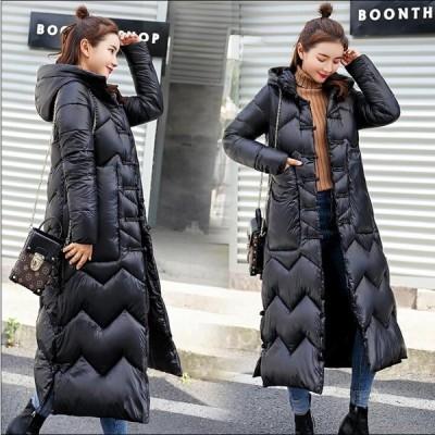 3色 レディース ロング丈 中綿 ダウンコート 上着 ダウンジャケット シンプル  フード付き 防寒 防風 OL 通勤 暖かい カジュアル 上質コート