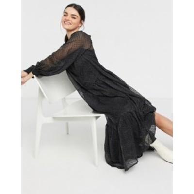 エイソス レディース ワンピース トップス ASOS DESIGN tiered smock shirt maxi dress in mono textured dot Mono spot