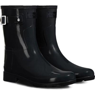 ハンター HUNTER レディース レインシューズ・長靴 シューズ・靴 Refined Short Gloss Rain Boot Black