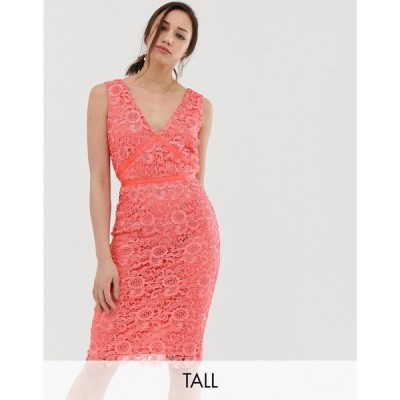 ペーパー ドールズ Paper Dolls Tall レディース ワンピース ワンピース・ドレス v neck lace pencil dress in coral Coral