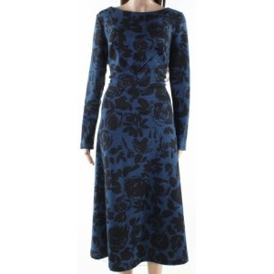 ファッション ドレス Lila Kass Womens Dress Blue Black Size Medium M Sheath Floral Print