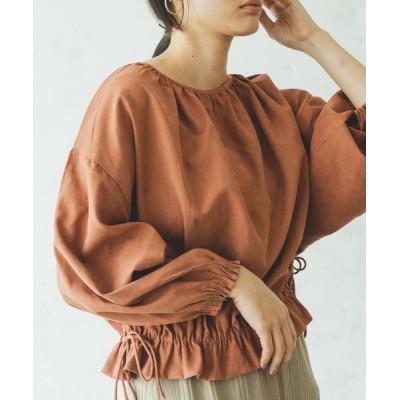 pairmanon / サイドリボン 裾 ギャザー 長袖 ボリューム袖 ショート丈 ブラウス WOMEN トップス > シャツ/ブラウス
