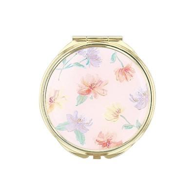 手鏡 ミラー 拡大鏡 キラキラ プレゼント コンパクトミラー フラワーパターン GMR0167-PK ピンク 雑貨 おしゃれ かわいい