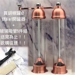 金色管身透明胡椒罐兩入+6in1開瓶器+玻璃吸管五入組-希臘廚具同款/旋轉式/不鏽鋼/胡椒罐/研磨罐/調味罐/研磨瓶/開罐器