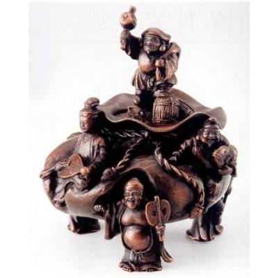 香炉  香立て 香炉 招福七福神 大森孝志作 蝋型青銅(ブロンズ)製 桐箱入り 高岡銅器 置物 