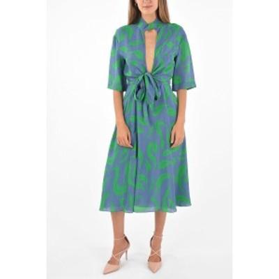 OFF WHITE/オフホワイト Blue レディース Plunging Neckline Flared Dress dk