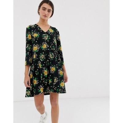 モンキ レディース ワンピース トップス Monki prairie flower print jersey smock dress in black Black floral