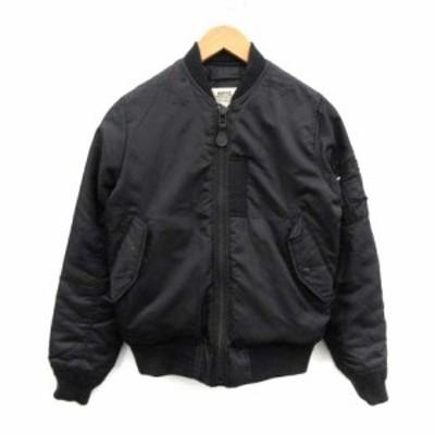 【中古】キッフェ KIFFE フライトジャケット MA-1 ブルゾン 中綿 F 黒 ブラック /OI ●D メンズ