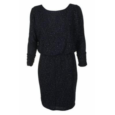 Jessica Howard ジェシカハワード ファッション ドレス Jessica Howard Blue Metallic Long Sleeve Blouse Sheath Dress 4p