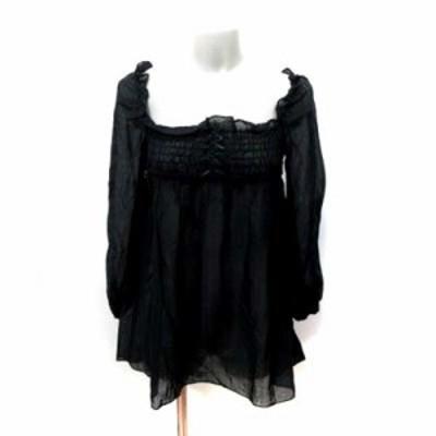 【中古】ジルスチュアート JILL STUART チュニック シャーリング 刺繍 長袖 S 黒 ブラック /YI レディース