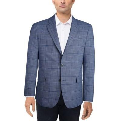 トミー ヒルフィガー メンズ ジャケット・ブルゾン アウター Men's Slim-Fit Blue Plaid Sport Coat