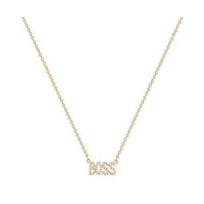 Bemoly 14K Gold Necklace Cubic Zirconia Word BOSS Y Pendant for Women Perso