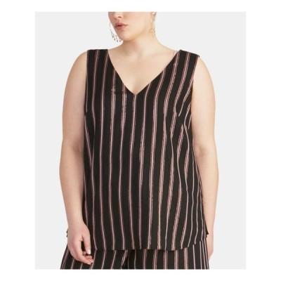 レディース 衣類 トップス RACHEL ROY Womens Black Striped Sleeveless V Neck Tank Top Plus Size: 1X タンクトップ