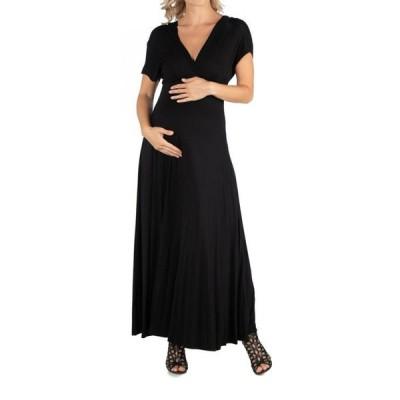 24セブンコンフォート レディース ワンピース トップス Cap Sleeve V Neck Maternity Maxi Dress