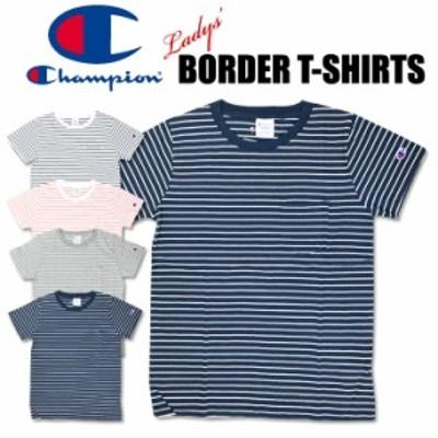 セール Champion チャンピオン レディース ボーダー 半袖Tシャツ ワンポイント ポケットTシャツ CW-M324