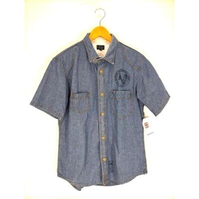 ショット Schott シャンブレー 半袖ワークシャツ メンズ L 中古 古着 210820