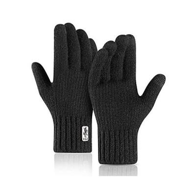 Caseeto メンズ 手袋 ニットグローブ 男性用 厚手 自転車てぶくろ 男の子 通勤通学 タッチパネル可能 (ブラック Free Size)