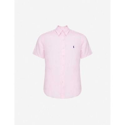 ラルフ ローレン POLO RALPH LAUREN メンズ 半袖シャツ トップス Logo-embroidered short-sleeve linen shirt Pink