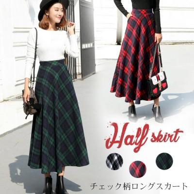選べる2長さ\チェック柄スカート/ロングスカート 高品質 韓国ファッション スカート ミモレ丈 ハイウエスト 秋 冬
