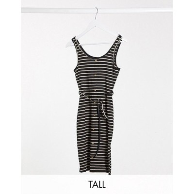 ブレイブソウル レディース ワンピース トップス Brave Soul Tall pallas striped button through jersey dress with tie waist in black