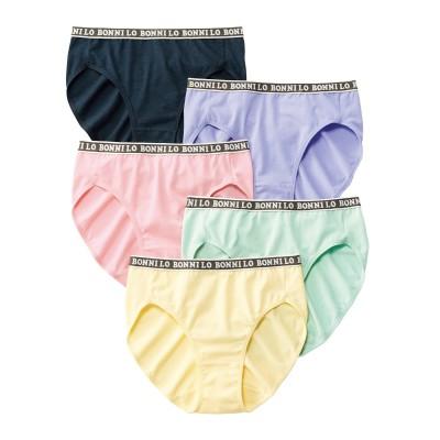 テンセルTM繊維・綿混ストレッチレギュラーショーツ5枚組(L) スタンダードショーツ, Panties